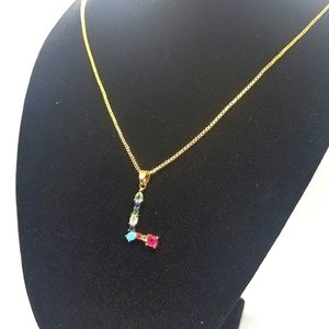 """😍2/25. 14k gold plated"""" L"""" rhinestone necklace"""
